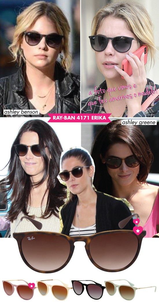 RAYBAN ERIKA 4171 ASHLEY GREENE ASHLEY BENSON SUNGLASSES OCULOS ESCUROS MODELO TREND STYLE ESTILO