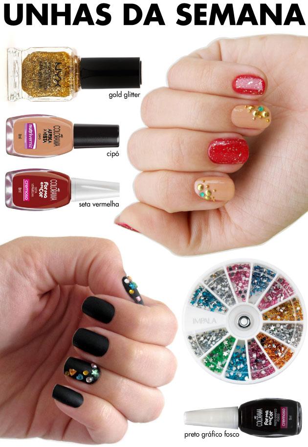 unhas-de-segunda-unhas-diferentes-e-nail-art-unha-de-natal-natalina-vermelha-cristais-tachas-glitter-forma-em-cor-colorama-preto-grafico-fosco-cristais-impala