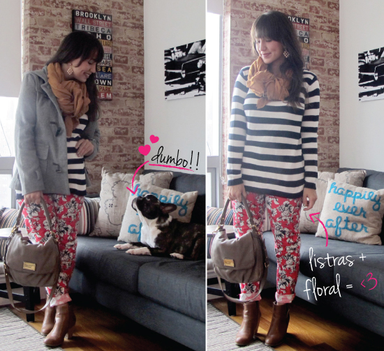 STARVING LOOK MANDY NY FRENCH BULLDOG TENDENCIA LOOK DO DIA PRODUCAO FLORAL LISTRA SWEATER FOREVER 21 ZARA DICA IDEIA