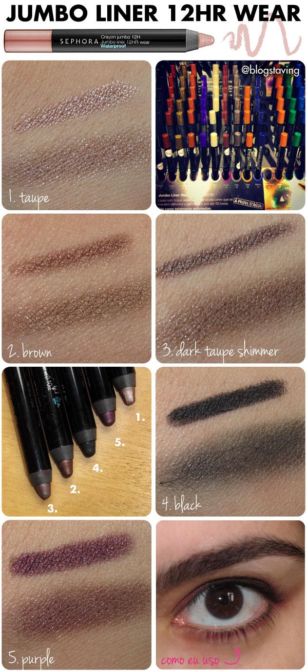 resenha-lapis-waterproof-sephora-collection-jumbo-liner-12hr-wear-a-prova-d-agua-purple-taupe-shimmer-black-brown-
