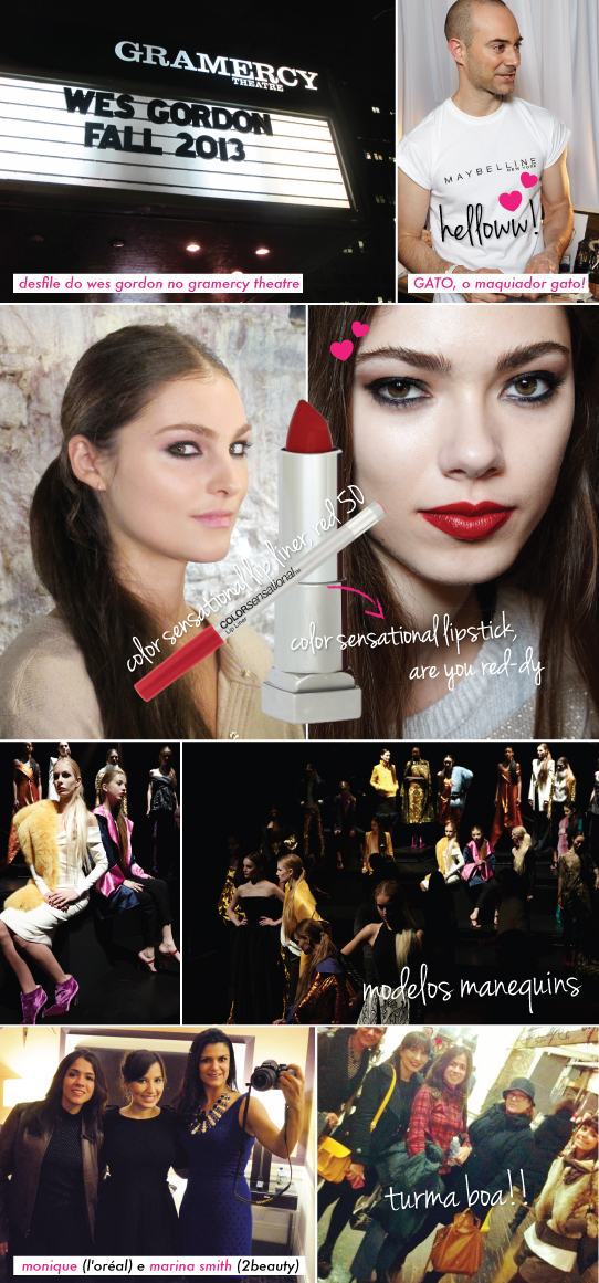 NYFW WES GORDON MAKE BEAUTE MAQUIAGEM BEAUTY HAIR EYES LIPS LIPSTICK MAYBELLINE RED 50 ARE YOU RED-DY COLOR SENSATIONAL BUDDAKAN CALENDARIO 2014 CHARLOTTE WILLER LOOK DO DIA STARVING MANDY NY NEW YORK MBFW