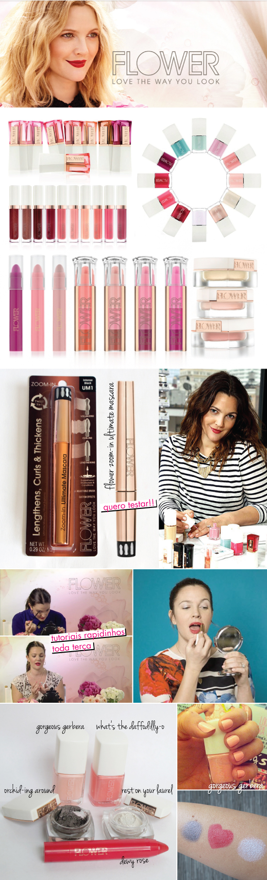 FLOWER BEAUTY DREW BARRYMORE MAKEUP MAKE BEAUTY COSMETICOS COMETICS PRODUTOS PRODUCTS ESMALTE NAIL POLISH EYE SHADOW LIPSTICK PENCIL WALMART ONDE COMPRAR SWATCHES