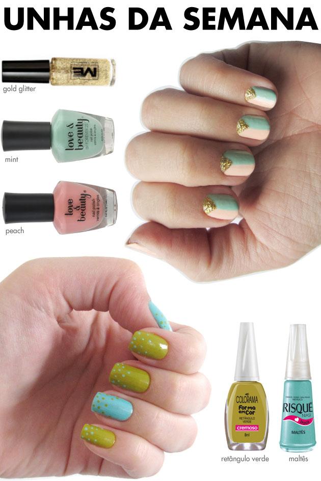 unhas-de-segunda-unhas-diferentes-e-nail-art-poas-verde-azul-maltes-retangulo-verde-colorama-risque-gold-glitter-me-pint-mint-forever-21-esmalte-triangulo-