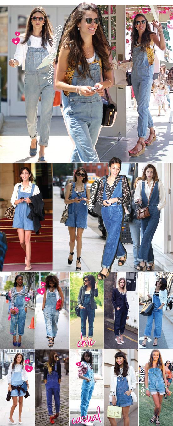 0fee47847d555 Figuras estilosas como Alessandra Ambrósio e Alexa Chung já aderiram e  parecem ter gostado do look. Já nas produções das ruas, o macacão ressurgiu não  só em ...