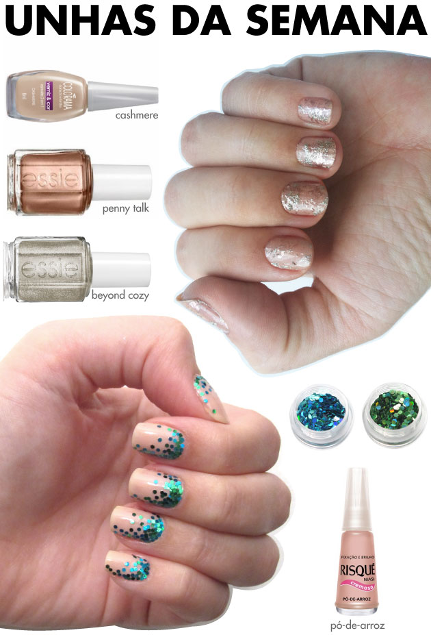 unhas-de-segunda-unahs-diferentes-e-nail-art-splatter-nails-rose-essie-cashmere-colorama-essie-nude-risque-glitter-azul-glitter-verde-hexagonal-sereismo