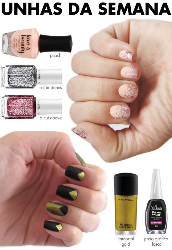 unhas-de-segunda-unhas-diferentes-e-nail-art-geometrica-dourado-preto-fosco-colorama-degrade-glitter-nude-essie-prata-rosa