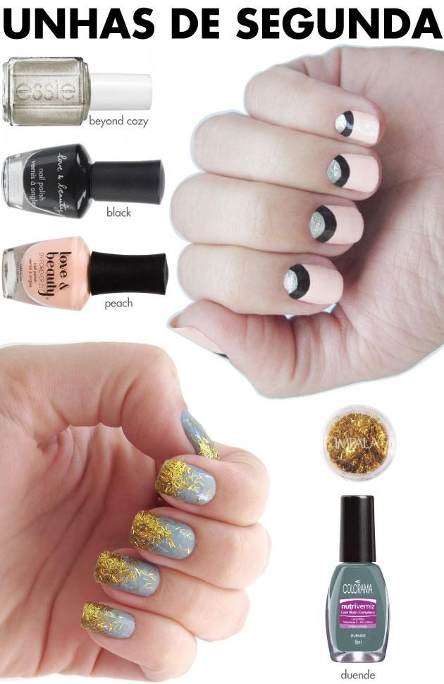 unhas-de-segunda-unhas-diferentes-e-nail-art-meia-lua-dupla-preto-nude-prata-essie-beyond-cozy-glitter-filete-dourado-impala-duende-colorama