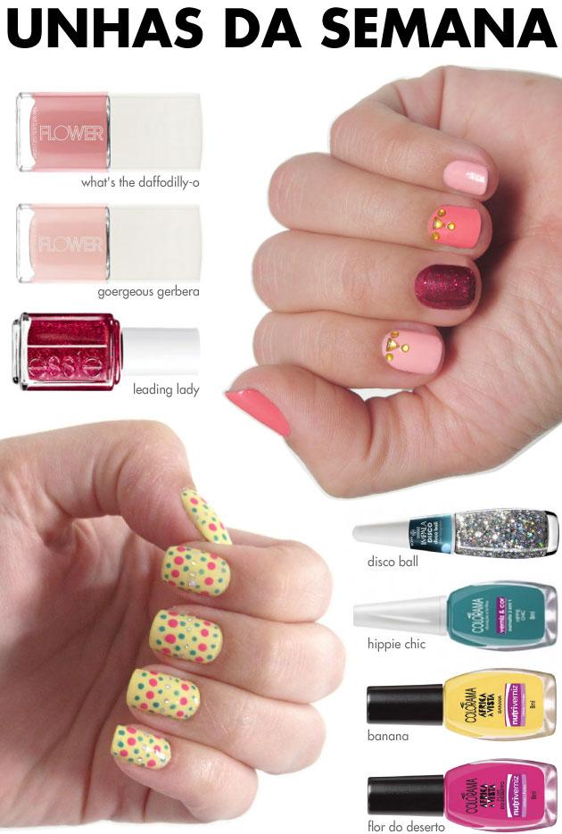 unhas-de-segunda-unhas-diferentes-e-nail-art-poas-tamanho-variados-esmalte-amarelo-banan-colorama-esmaltes-flower-drew-barrymore-essie-glitter-impala