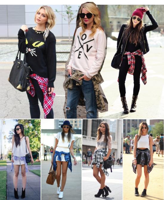 amarradinho-na-cintura-amarrado-blusa-street style-looks-look-dica-styling-como usar-tendencia-trend-short-calca-saia-camisa-xadrez-tied-around-waist
