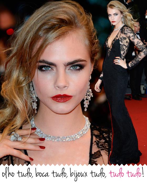 cara-delevigne-cannes-maquiagem-make-up-bijoux-joias-vestido-renda-burberry-sobrancelha