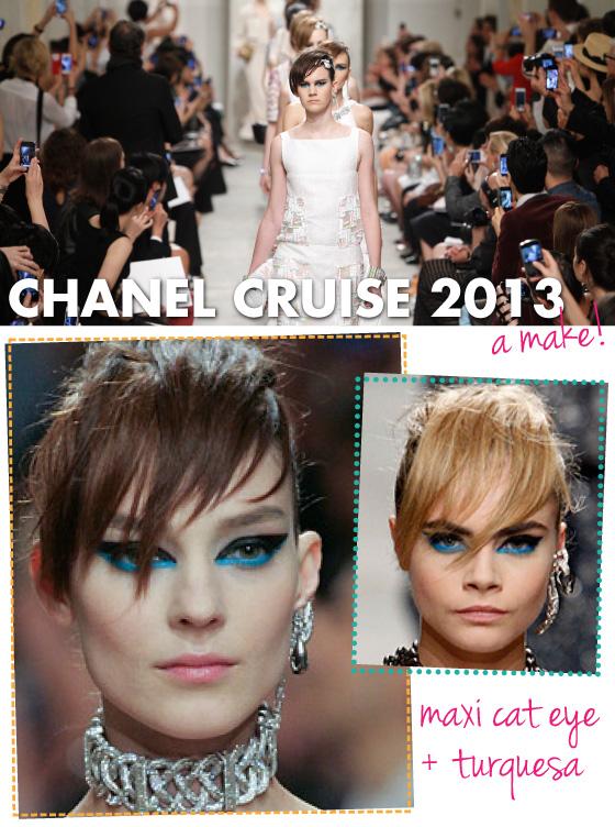 make-chanel-cruise-2013-2014-maquiagem-delineador-gatinho-maxi-cat-eye-azul-turquesa