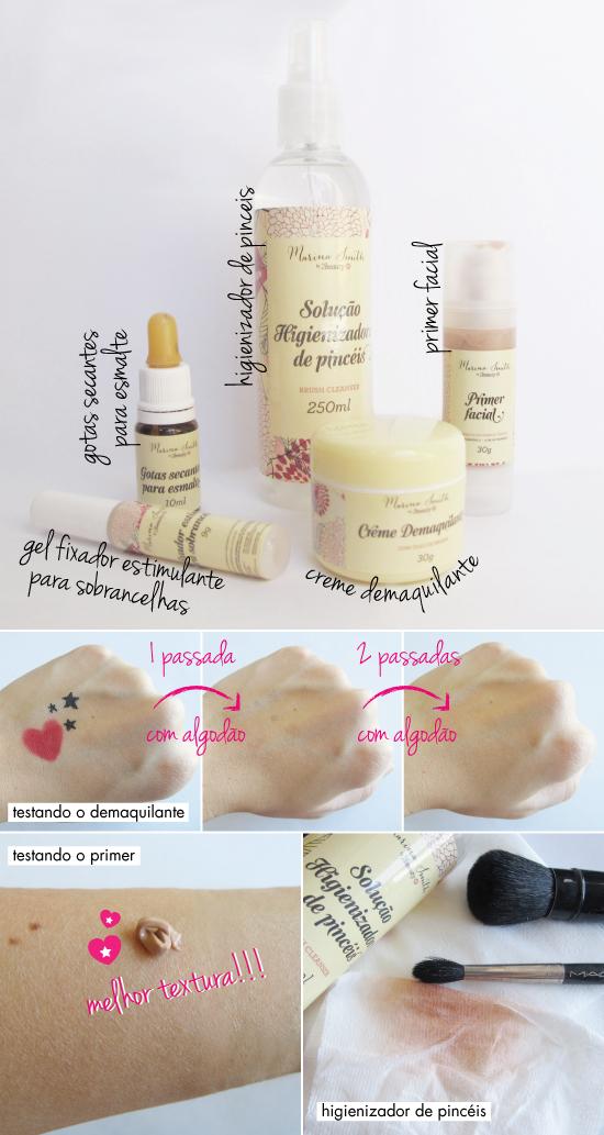 marina smith-colecao-linha-cosmeticos-sephora-creme demaquilante-gel fixador estimulante para sobrancelhas-primer facial-solucao higienizador para pinceis-gotas secantes para esmalte-review-resenha