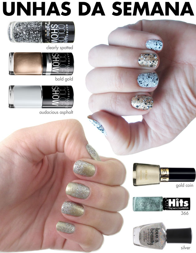 unhas-de-segunda-unhas-diferentes-e-nail-art-esmaltes-maybelline-polka-dots-clearly-spotted-bold-gold-asphalt-revlon-gold-coin-glitter-hits-366-glitter-forever-21-silver