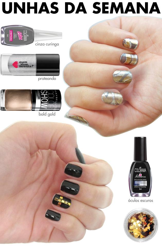 unhas-de-segunda-unhas-diferentes-e-nail-art-marble-nails-prata-dourado-cinza-maybelline-quem-disse-berenice-glitter-impala-unha-cruz-gotica-preto-dourado-oculos-escuros-colorama-
