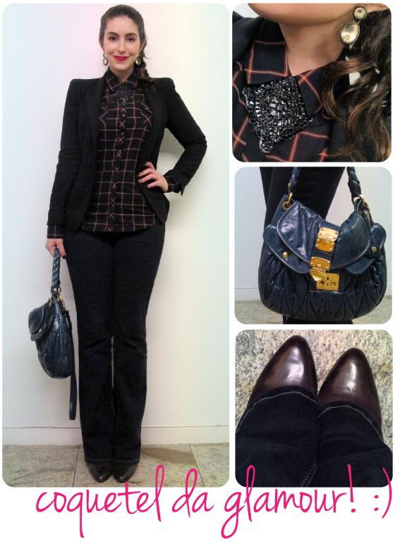 look-coquetel-lancamento-glamour-revista-calca-jeans-flare-camisa-xadrez-blazer-gola-fechada-colar-bota