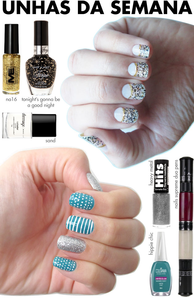 unhas-de-segunda-unhas-diferentes-e-nail-art-nails-supreme-duo-pens-meia-lua-glitter-fergie-wet-n-wild-listras-poas-glitter-prata