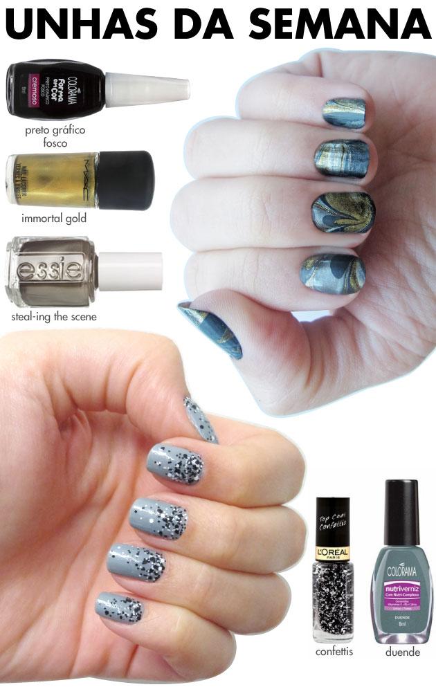 unhas-de-segunda-unhas-diferentes-nail-art-confetti-loreal-duende-colorama-degrade-splash-nails-glitter-marble-nails-preto-fosco-colorama-essie-immortal-gold-mac