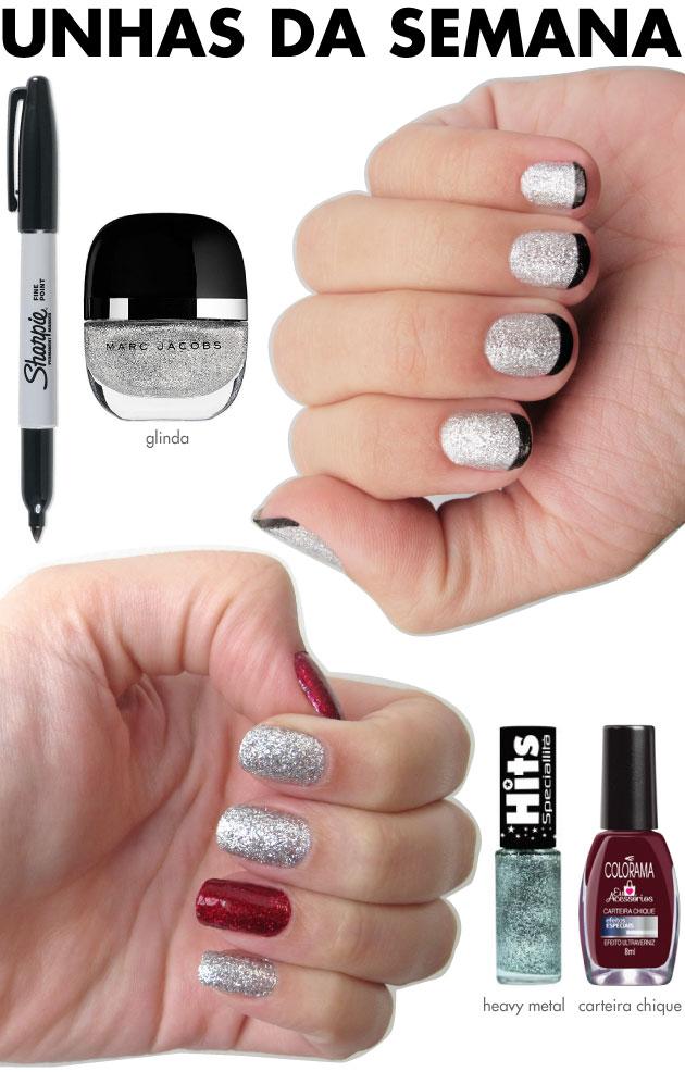 unhas-de-segunda-unhas-diferentes-e-nail-art-glitter-prata-esmalte-marc-jacobs-glinda-sharpie-preta-inglesinha-misturinha-carteira-chique-colorama-