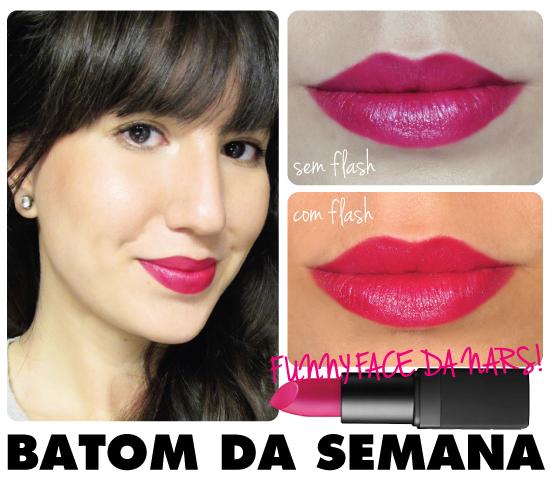 batom-da-semana-funny-face-nars-rosa-punk-cintilante-brilho-resenha-swatch-make-lipstick-blog