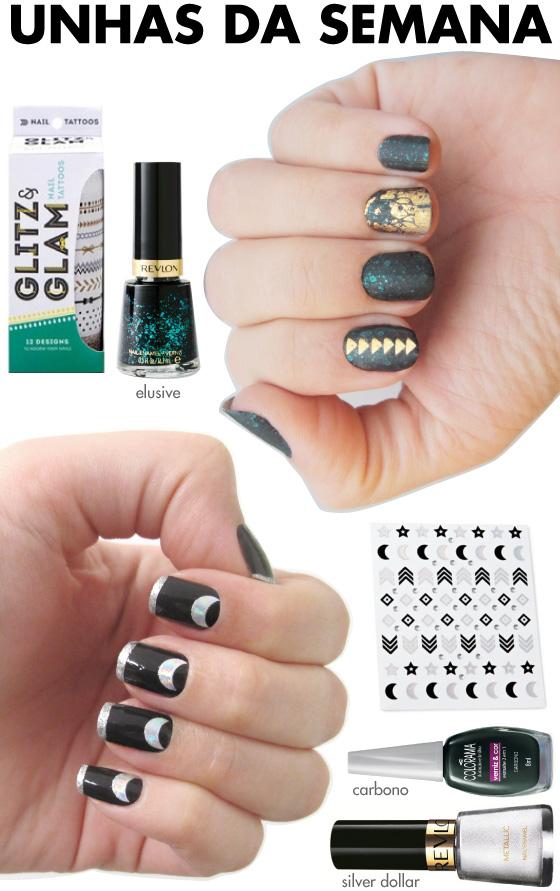 unhas-de-segunda-unhas-diferentes-e-nail-art-adesivos-glitz-glam-nail-tattoos-elusive-revlon-silver-dollar-revlon-carbono-colorama-npw-stickers-halo