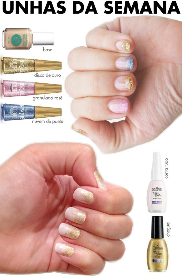 unhas-de-segunda-unhas-diferentes-e-nail-art-glitter-reveillon-ano-novo-risque-colorama-cheguei-papo-de-salao-disco-de-ouro,-nuvem-de-paetê,-granulado-rose