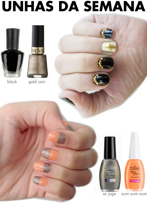 unhas-de-segunda-unhas-diferentes-e-nail-art-tachas-black-forever-21-esmalte-gold-coin-revlon-papo-de-salao-colorama-se-jga-glitter-superglitter-zum-zum-zum-coral