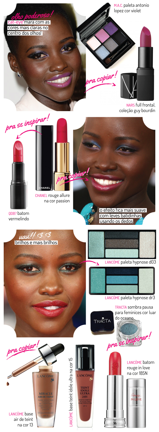lupita-nyong'o-beleza-beauty-makeup-make-maquiagens-maquiagem-batom-produtos-pele-negra-dica-sombra-marcas-base-essence-lancome-mac-nars