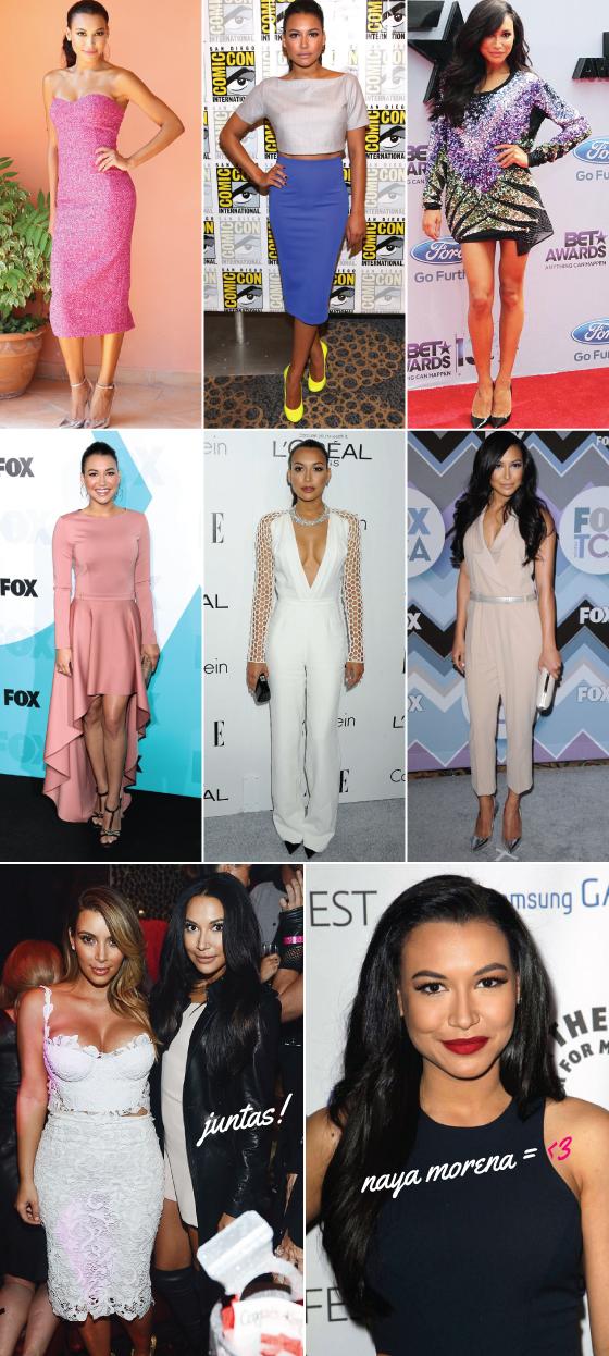 Naya-Rivera-kim-kardashian-parecida-estilo-cabelo-celebridade-glee-iguais-look-maquiagem