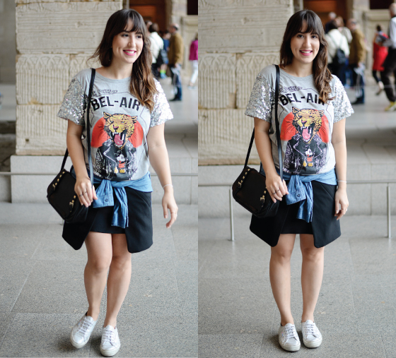 look-met-metropolitan-museum-look-do-dia-blog-starving-mandy-saia-geometrica-zara-tenis-prata-superga-silver-metalizado-blusa-she-inside-site-online-loja-china-manga-paetes-brilho-dia-camisa-jeans-amarrada-cintura-bolsa-ke-postiche-fresh-punks-of-bel-air-spike-outfit-of-the-day-blogger-blogueira-cool-t-shirt