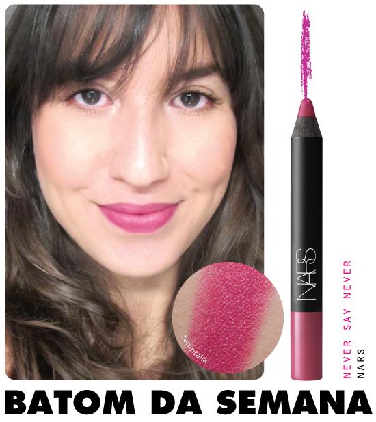 batom-da-semana-nars-never-say-never-sephora-onde-comprar-resenha-swatch-lapis-velvet-matte-rosa-brilho-make-batom-lipstick