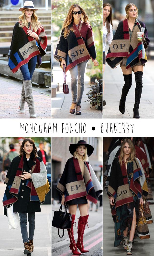 monogram-poncho-burberry-olivia-palermo-sarah-jessica-parker-alexa-chung-cara-delevingne-look-estilo-tendência