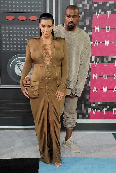 LOS ANGELES, CA - AUGUST 30:  Kim Kardashian and Kanye West arrive at the 2015 MTV Video Music Awards at Microsoft Theater on August 30, 2015 in Los Angeles, California.  (Photo by Gregg DeGuire/WireImage)