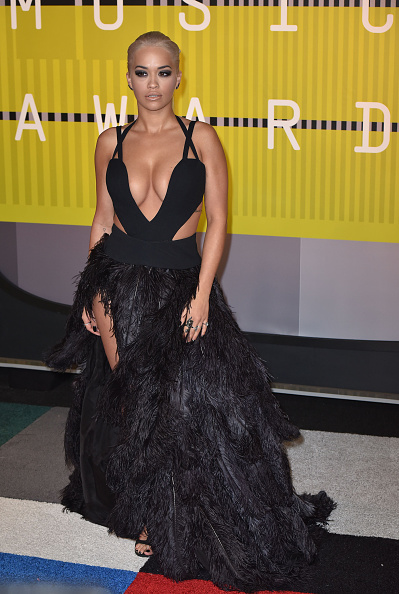 LOS ANGELES, CA - AUGUST 30:  Rita Ora arrives to the 2015 MTV Video Music Awards at Microsoft Theater on August 30, 2015 in Los Angeles, California.  (Photo by C Flanigan/Getty Images)