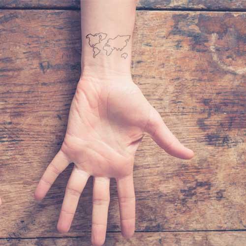 tatuagem temporaria mapa mundi