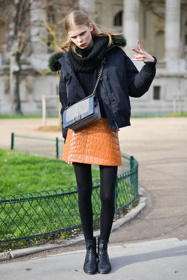 PARIS, FRANCE - JANUARY 26: Model Alexandra Elizabeth Ljadov poses wearing a Miu Miu skirt and a Chanel bag after the Chanel show at the Grand Palais during Haute Couture on January 26, 2016 in Paris, France. (Photo by Vanni Bassetti/Getty Images)