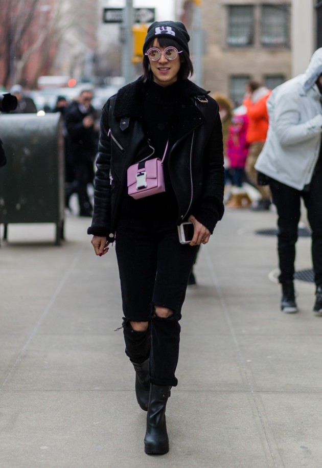NEW YORK, NY - FEBRUARY 15: Eva Chen is wearing a black shearling leather jacket seen outside Tommy Hilfiger during New York Fashion Week: Women's Fall/Winter 2016 on February 15, 2016 in New York City. (Photo by Christian Vierig/Getty Images)